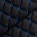 Экокожа Ромб Черная (Синяя строчка)