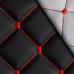 Экокожа Ромб Черная (Красная строчка)